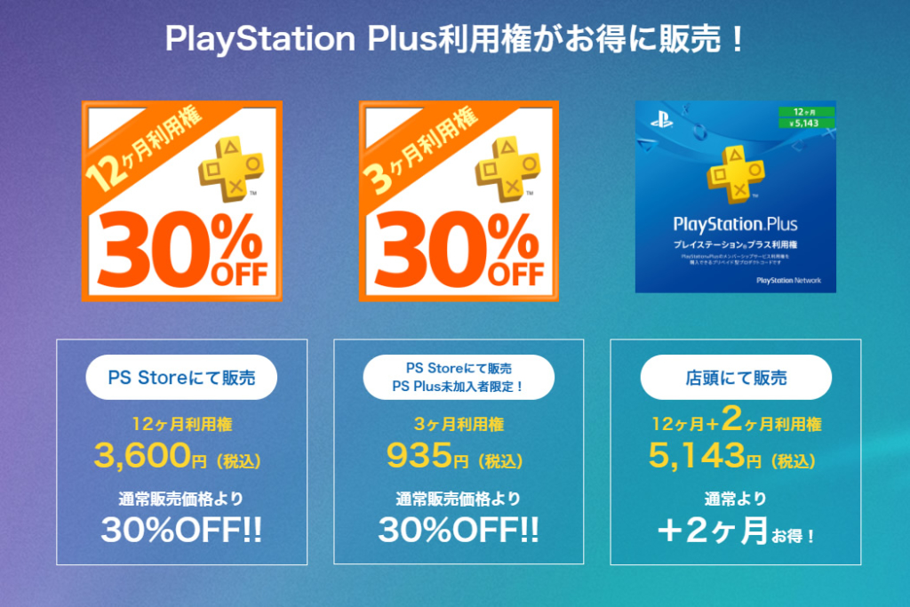 PS plus利用権がお得に販売!